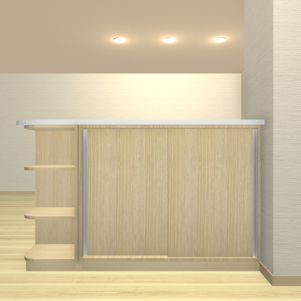 カウンター下収納 2枚引き戸+オープンR棚【jk04-04】