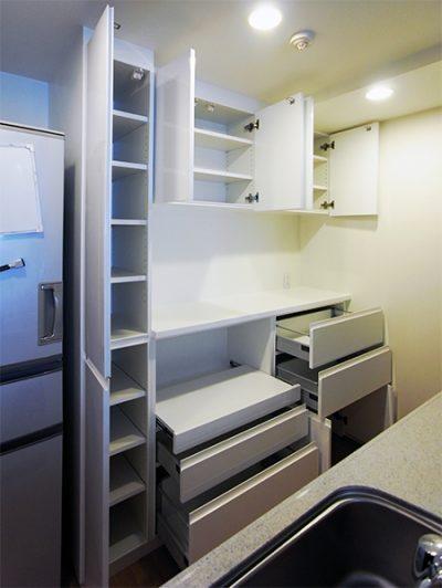 トール収納付き食器棚【s154】