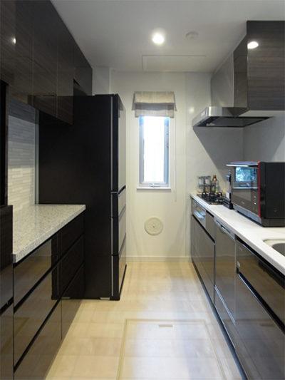 トール家電収納付き食器棚+冷蔵庫上吊戸棚【s155】