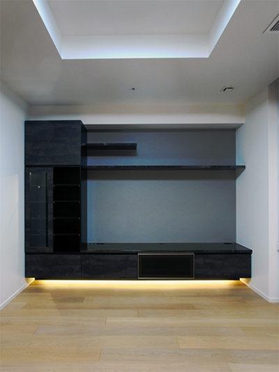フロートタイプTVボード,照明付き飾り棚【h046】