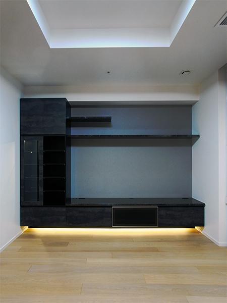 【h046】フロートタイプ,照明付飾棚